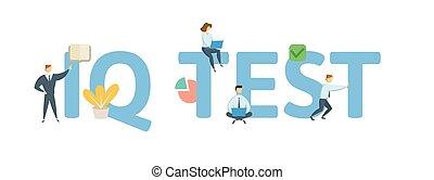 plat, concept, lettres, illustration., arrière-plan., q.i., isolé, icons., gens, vecteur, blanc, test.