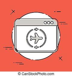 plat, concept, ligne aérienne, icône