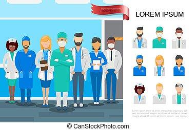 plat, concept médical, coloré, personnel