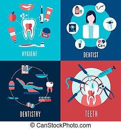 plat, concept médical, infographics, art dentaire