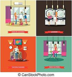 plat, concept, ménage, service, compagnie, work., illustration, vecteur, nettoyage, équipe, style.