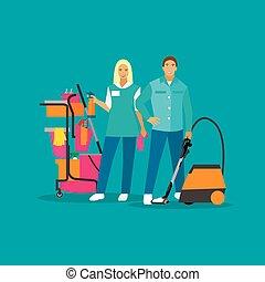 plat, concept, ménage, service, maison, compagnie, work., illustration, vecteur, nettoyage, équipe, style.