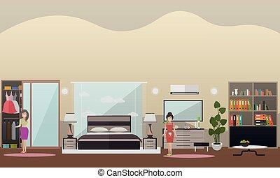 plat, concept, maison, illustration, vecteur, nettoyage