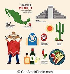 plat, concept, mexique, icônes voyage, illustration, conception, repère, .vector