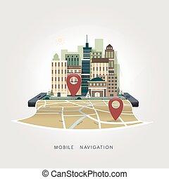 plat, concept, mobile, apps, conception, navigation