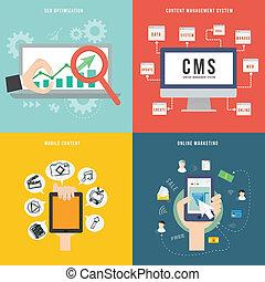 plat, concept, mobile, commercialisation, élément, conception, seo, cms, icône