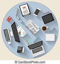 plat, concept, moderne, brainstorming, teamwork, ontwerp