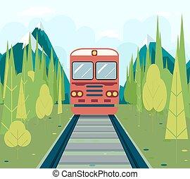 plat, concept, montagne, train, ciel, illustration, vecteur, conception, forêt, fond, chariots, élégant, chemin fer, tourisme, symbole, voyage, voyage