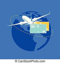 plat, concept, mot, autour de, voyage, avion, vecteur