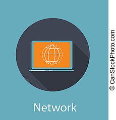 plat, concept, netwerk, illustratie, vector, pictogram
