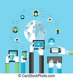 plat, concept, netwerk, sociaal