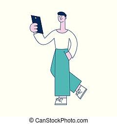 plat, concept, netwerk, sociaal, illustratie, of, vector, online, lezende , style.