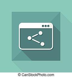plat, concept, netwerk, -, vector, minimaal, pictogram