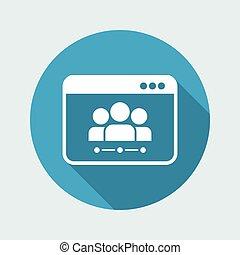 plat, concept, networking, -, vector, minimaal, pictogram
