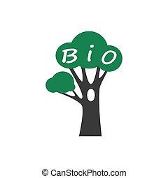 plat, concept., organique, icône, arbre., bio, vecteur, eco...