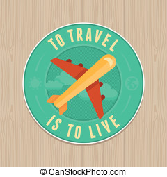 plat, concept, ouderwetse , reizen, -, vector, icon., badge