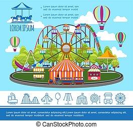 plat, concept, parc, amusement