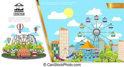 plat, concept, parc, amusement, ville