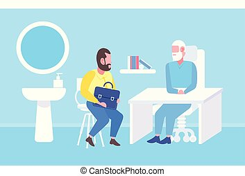 plat, concept, patient, bureau, docteur, moderne, longueur, avoir, intérieur, clinique, consultation, entiers, lieu travail, healthcare, médecine, table, séance, homme aîné
