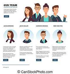 plat, concept, professionnels, créatif, outsourcing, vecteur, collaboration, caractères, dessin animé