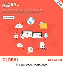 plat, concept, réseau, global, conception, gabarit, bannière, icône