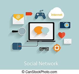 plat, concept, réseau, illustration, vecteur, social