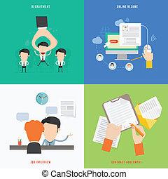 plat, concept, recrutement, hr, élément, processus, conception, icône