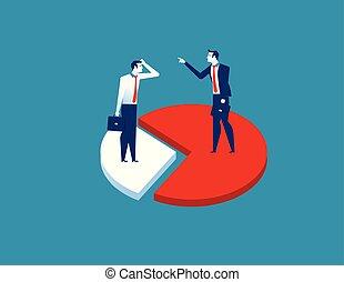plat, concept, reussite, business, résumé, caractère, illustratio., morceaux, chart., vecteur, homme affaires, différence, dessin animé