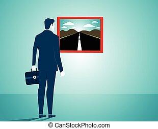 plat, concept, road., business, regarder, vecteur, homme affaires, nouveau, illustration.