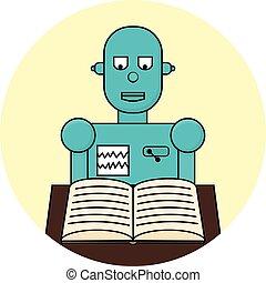 plat, concept., robot, illustratie, machine, vector, leren, lijn, het boek van de lezing