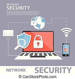 plat, concept, sécurité réseau, bannière, icône