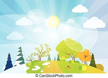 plat, concept, saison, quatre, vecteur, conception, paysage