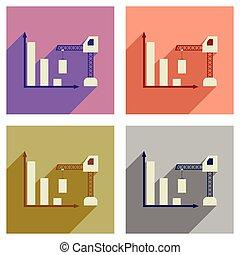 plat, concept, schema, iconen, lang, bouwsector, schaduw