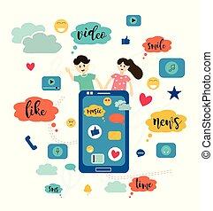 plat, concept, search., coloré, messages, social, amis, communication, site web, vecteur, par, illustration., communication, internet, vidéo, réseaux, style, dater, dessin animé, nouvelles, bavarder