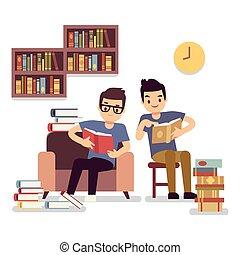 plat, concept, self-education, twee jongens, boekjes , lezende