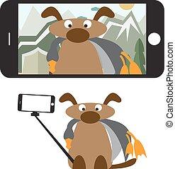 plat, concept, selfie, dog, illustratie, vector, ontwerp, stick.