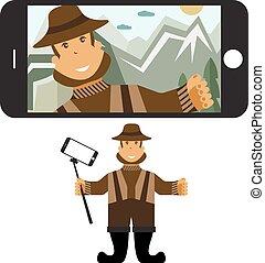 plat, concept, selfie, illustratie, vector, ontwerp, stick., fisher