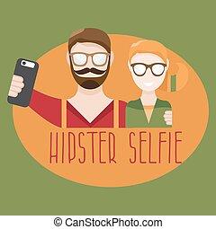 plat, concept, selfie, illustration, vecteur, hipster, conception