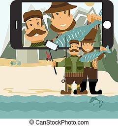 plat, concept, selfie, jager, illustratie, vector, ontwerp, stick., fisher