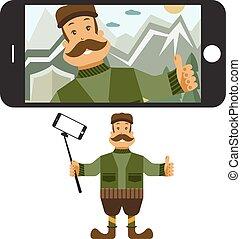 plat, concept, selfie, jager, illustratie, vector, ontwerp, stick.