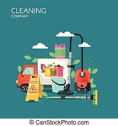 plat, concept, service, compagnie, illustration, vecteur, nettoyage