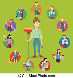 plat, concept, service, vecteur, conception, nettoyage