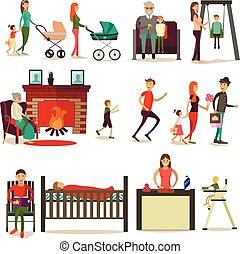 plat, concept, set, gezin, iconen, vector, ontwerp onderdelen, style.