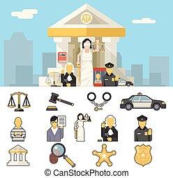 plat, concept, set, iconen, justitie, symbool, illustratie, vector, ontwerp, achtergrond, wet, stad