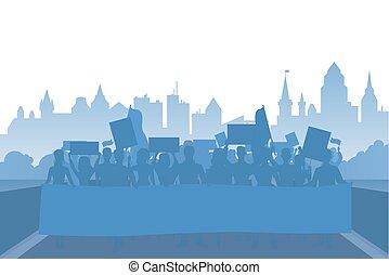 plat, concept, silhouette, foule, gens, moderne, coty, protestation, vecteur, fond, démonstration, paysage