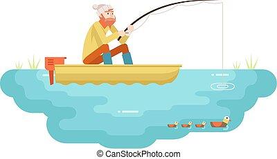 plat, concept, staaf, karakter, meer, illustratie, vrijstaand, vector, visser, volwassene, mal, ontwerp, visserij, vogels, scheepje, pictogram