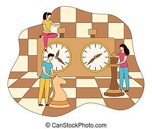 plat, concept, stratégie commerciale, vecteur, échecs,...
