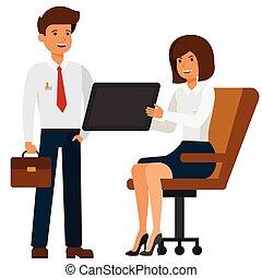 plat, concept, tablette, femme affaires, projection, isolé, illustration, directeur, vecteur, fond, blanc, dessin animé