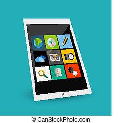 plat, concept, tablette