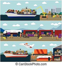 plat, concept, transport, bateaux, rail, livraison, expédition, banners., vecteur, logistique, ensemble, transport